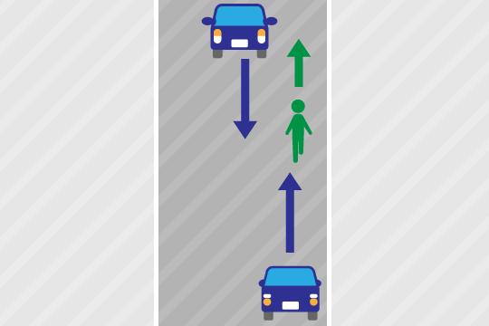 歩道がない道路を歩いていた場合は歩行者が右側通行をしていたか左側通行をしていたかで過失割合が異なる