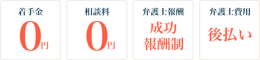 着手金・相談料0円、成功報酬制、弁護士費用は後払いの安心な料金設定
